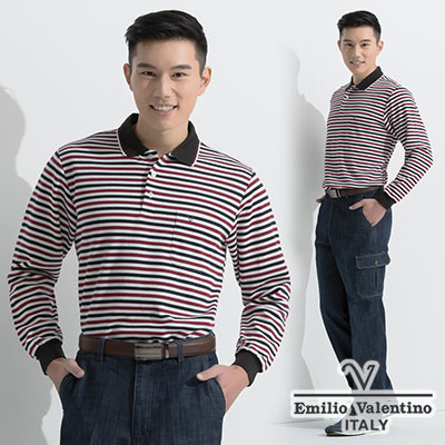 Emilio Valentino 橫紋厚料POLO衫_深藍色(21-6V8857)