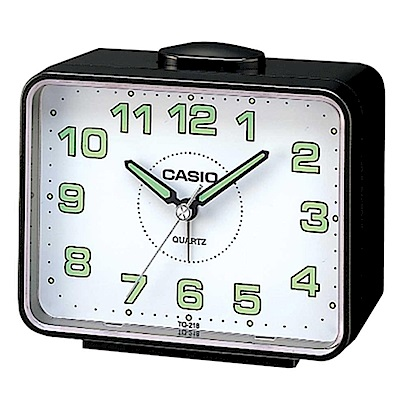 CASIO 夜間指針桌上方型簡約鬧鐘(TQ-218-1B)-黑X白面