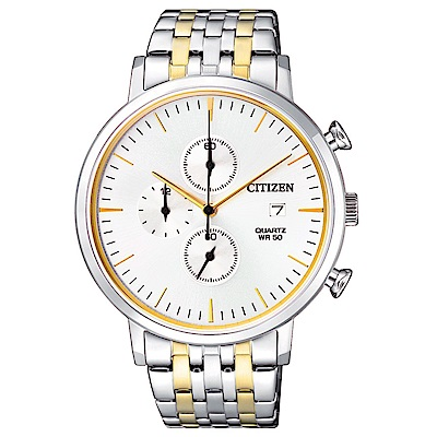 CITIZEN星辰 都會潮流風尚三眼計時石英腕錶 (AN3614-54A)- 黑/41mm