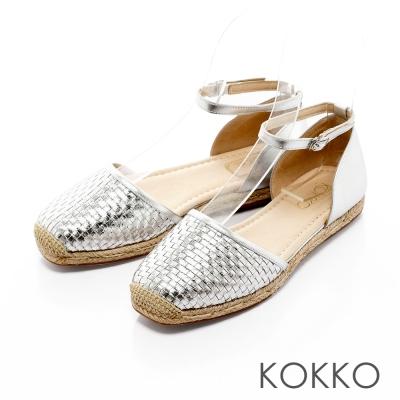 KOKKO-異國渡假編織真皮舒壓平底方頭鞋-科技銀