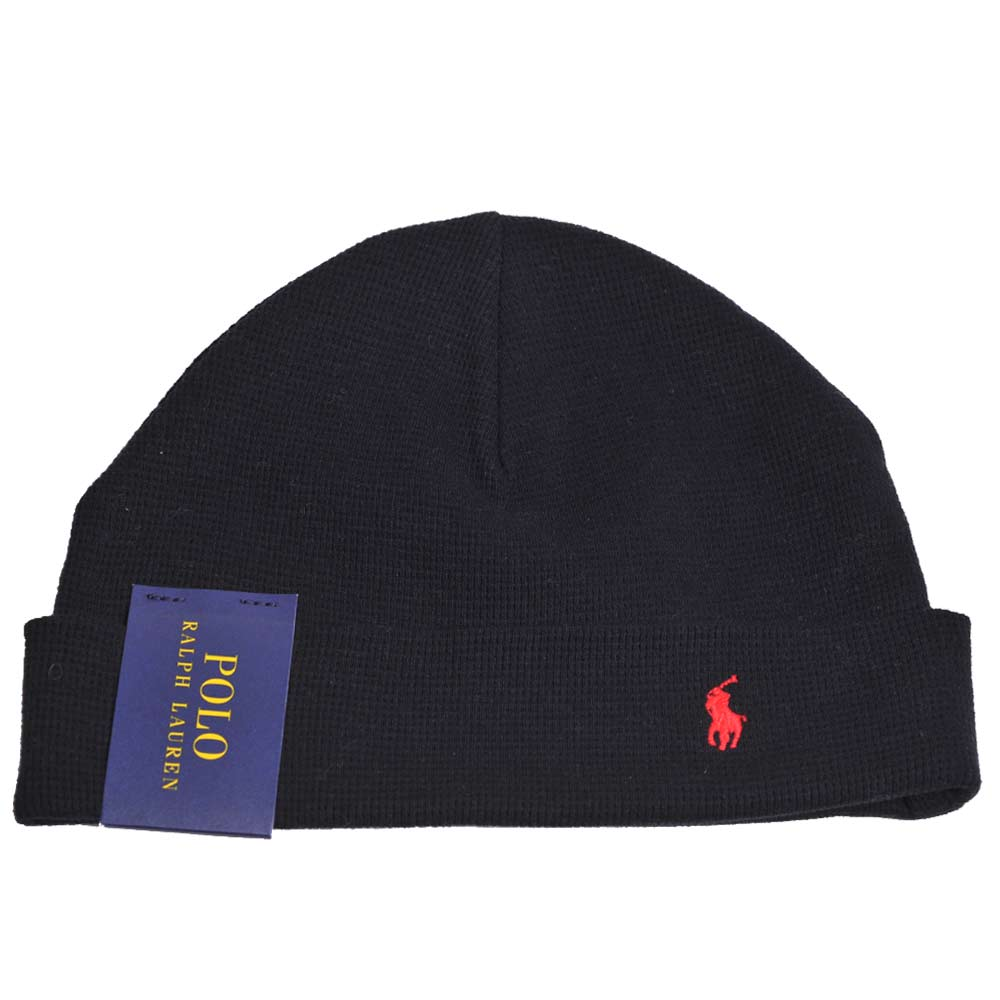 RALPH LAUREN POLO 紅色小馬刺繡LOGO棉質帽(黑)