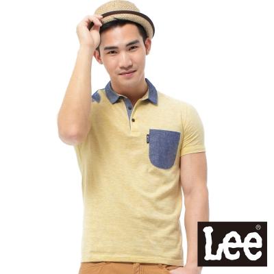 Lee-短袖POLO-黃色條紋與藍色平織布拼接-男款-黃