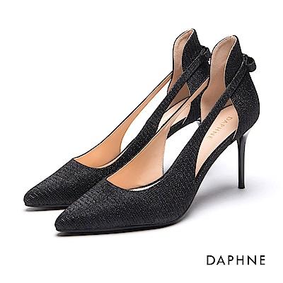 達芙妮DAPHNE 高跟鞋-金蔥效果縷空蝴蝶結細高跟鞋-黑