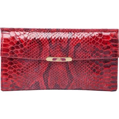 TONY PEROTTI 義大利蟒蛇紋牛皮 長夾 #2966Z ( 紅色 )