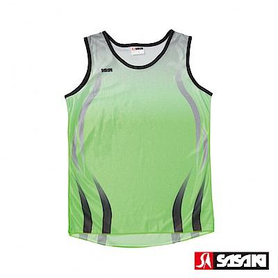 SASAKI 吸濕排汗田徑背心-女-艷綠/中灰