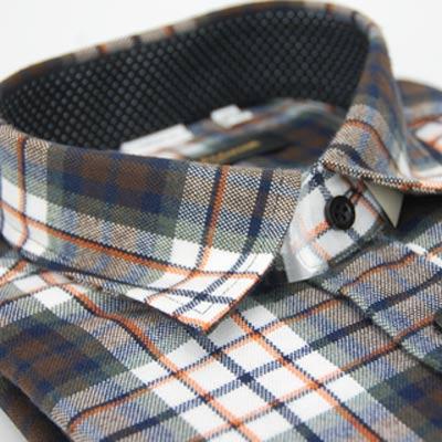 【金安德森】棕橘格紋保暖窄版長袖襯衫