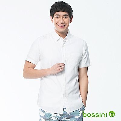 bossini男裝-素色短袖襯衫02白