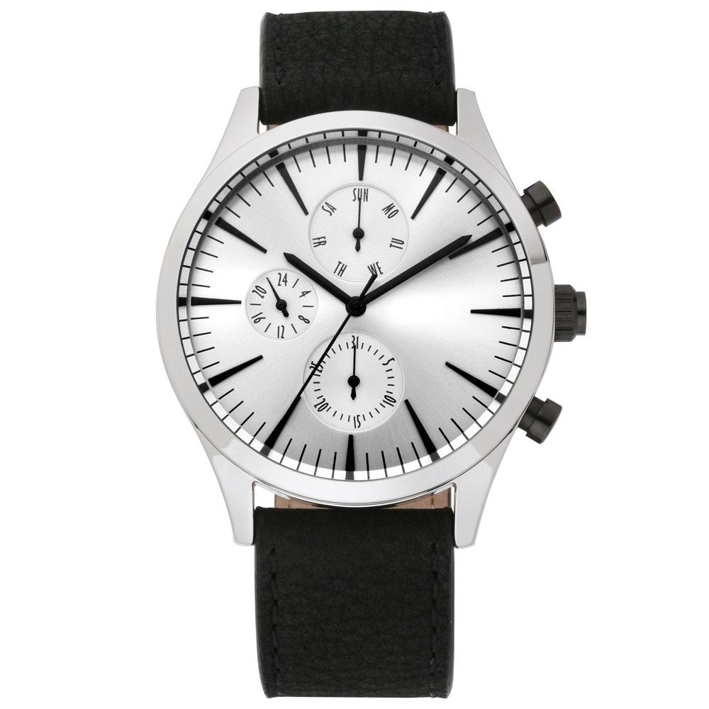MANGO 魅力回憶簡約三眼中性時尚腕錶-黑/44mm