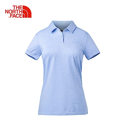 The North Face北面女款淺藍吸濕排汗短袖POLO衫