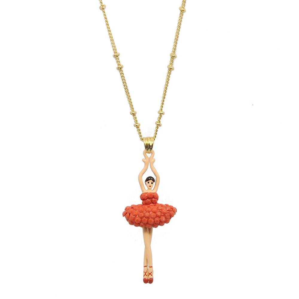 Les Nereides 優雅芭蕾舞女孩系列 橘色水晶舞者金色項鍊