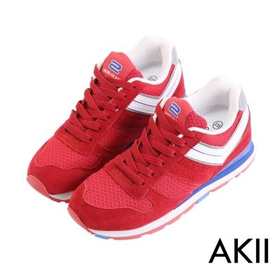 AKII韓國空運‧雙色運動風格增高休閒鞋-紅