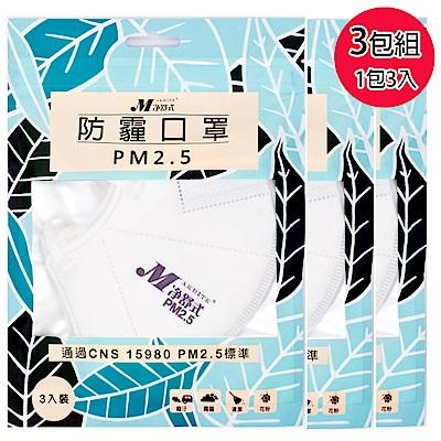 淨舒式 防霾口罩PM2.5 (3包組一包3入)(白)