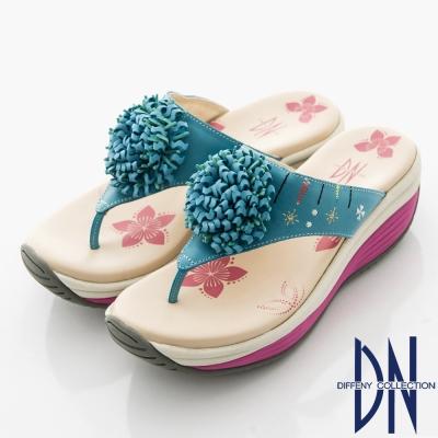 DN-夏日休閒-牛皮T字花朵夾腳厚底涼拖鞋-藍