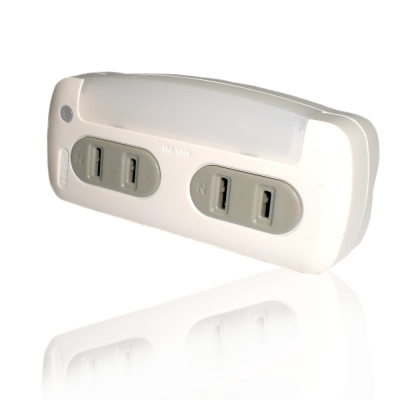 KINYO 白光LED光控感應小夜燈+分接式插座(MRL-03)