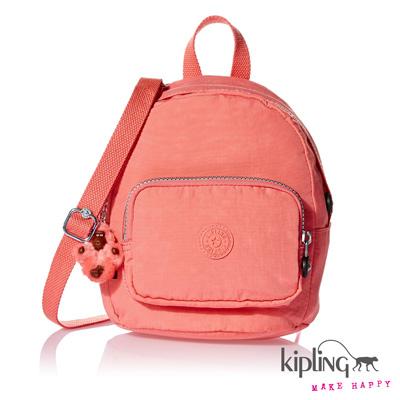 Kipling-迷你後背包-貝殼粉素面