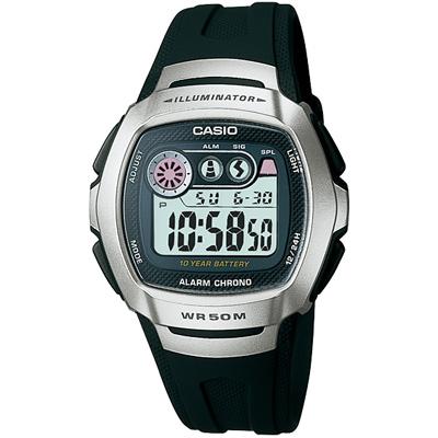 CASIO 穿梭時空兩地時間電子錶(W-210-1A)-銀框