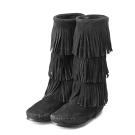 MINNETONKA-麂皮3層流蘇長靴-黑色