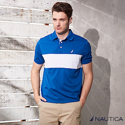 Nautica雙色拼接短袖POLO衫 -藍