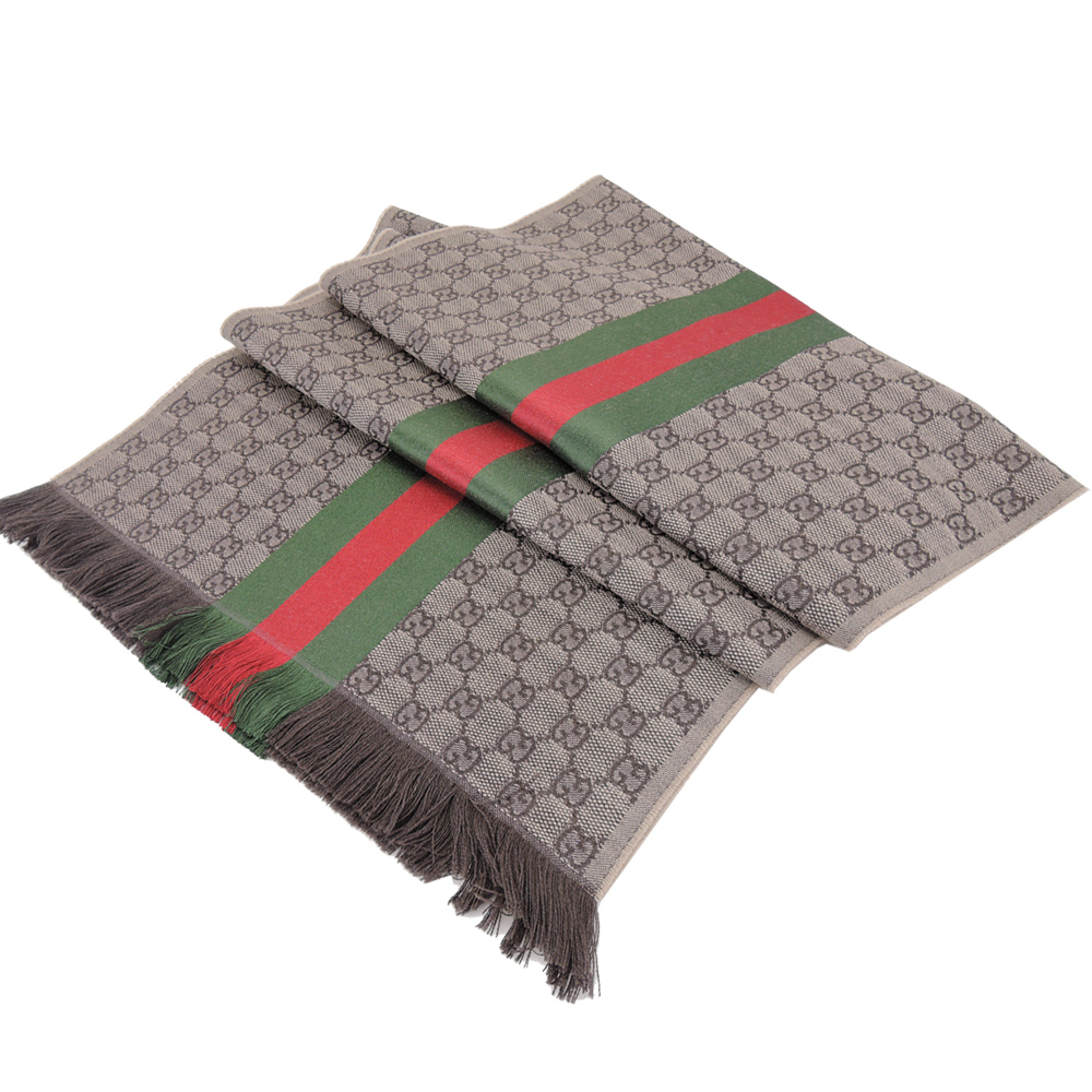 GUCCI 經典織帶GG花紋流蘇羊毛圍巾(卡其棕咖)