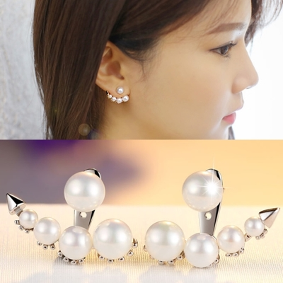 梨花HaNA-925銀美女的誕生珍珠月牙耳環