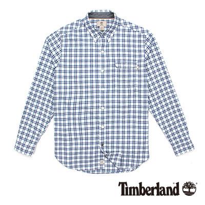 Timberland 男款藍白色法蘭絨細格紋長袖襯衫