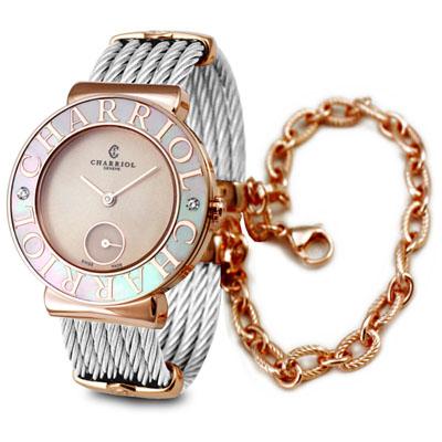 CHARRIOL 夏利豪 St-Tropez 可拆式玫瑰色鎖鍊錶x30mm