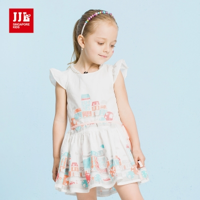 JJLKIDS 童話世界街景印花小飛袖洋裝(白色)