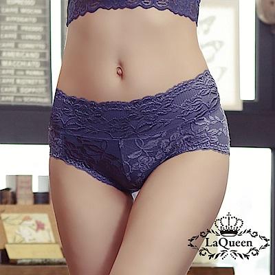 內褲  花漾蕾絲透氣全蠶絲內褲-深藍 La Queen