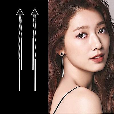 梨花HaNA無耳洞/耳針款選韓國925銀三角流蘇耳環