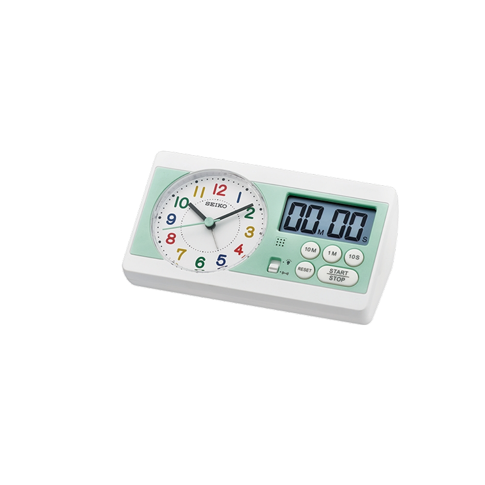 SEIKO 日本精工 滑動式秒針 鬧鐘 桌鐘(QHE152W)-白綠/16X8.9cm