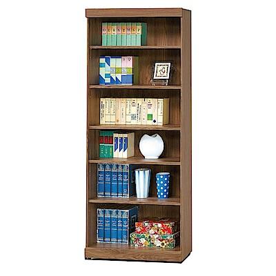 品家居 迪拉莉2.7尺胡桃木紋開放式書櫃-80x33x180cm免組