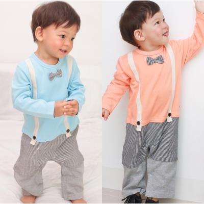 baby童衣 小領結假三件吊帶長袖連身衣 70070