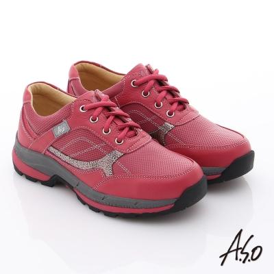 A.S.O 前彈性後避震 柔軟真皮乳膠奈米休閒鞋 桃粉紅