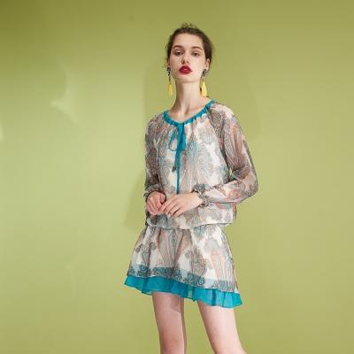 Hana+花木馬 輕時尚顯白雪紡印花腰身抽繩造型洋裝