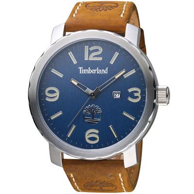 Timberland 木紋之跡時尚腕錶-藍x棕色錶帶/50mm