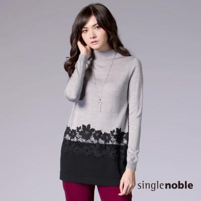 獨身貴族-典雅氣息花雕鏤空裝飾長版針織衫-2色