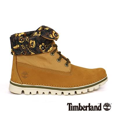 Timberland 女款小麥黃大理花布面反折靴