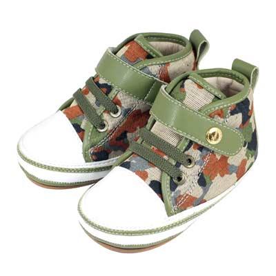 Swan天鵝童鞋-迷彩布高筒休閒學步鞋1520-綠