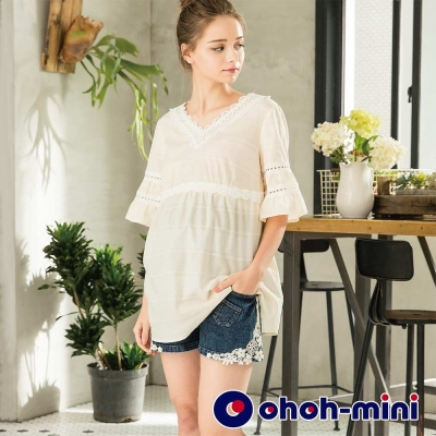 ohoh-mini 孕婦裝 單寧Mix蕾絲 混搭風短褲