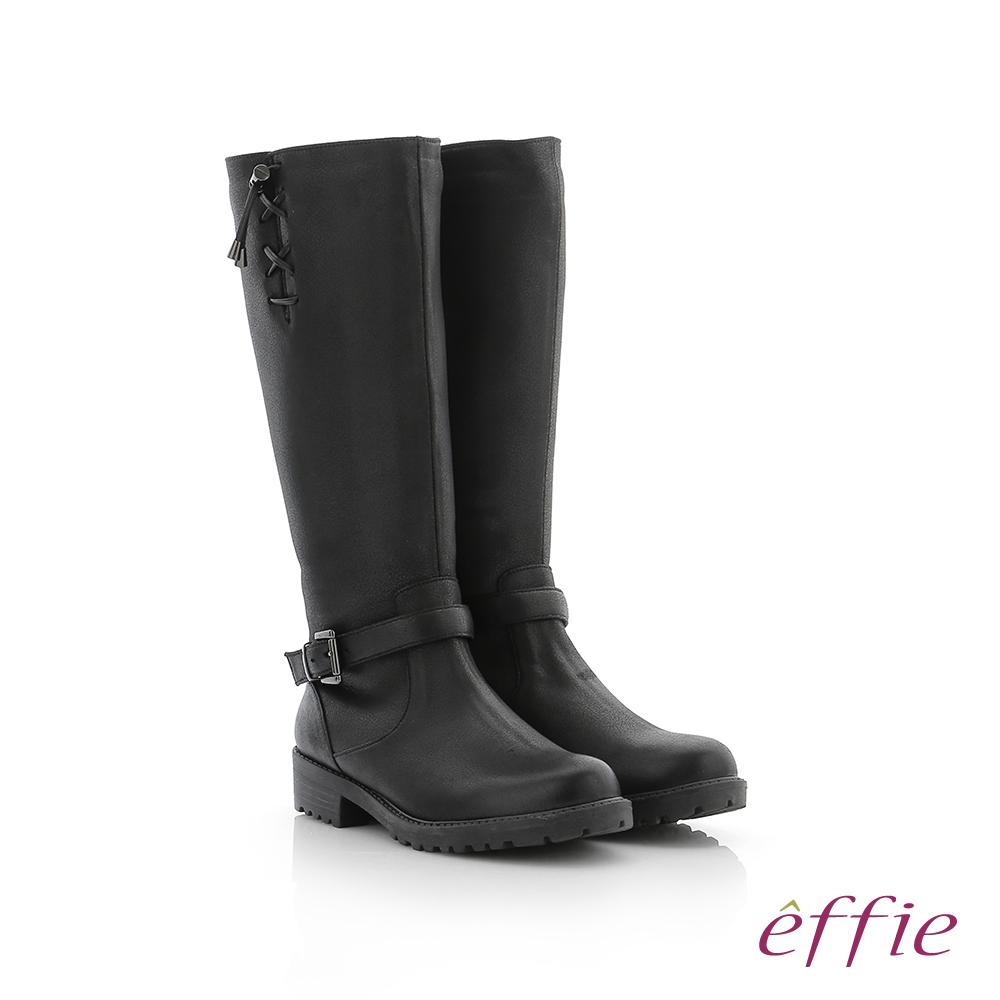 effie 個性美型 防潑水麂皮直筒靴 黑色
