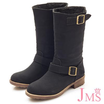 JMS-造型2WAY內刷毛可翻摺工程中靴-黑色
