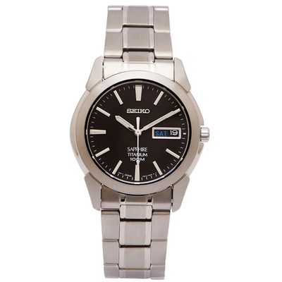 SEIKO 輕量鈦金屬手錶(SGG731P1)-黑色面x銀色/36mm