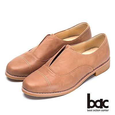bac後切軟墊 經典造型真皮平底鞋-咖啡