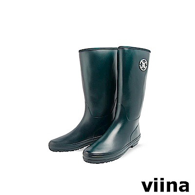 viina logo中筒雨靴-藏藍色