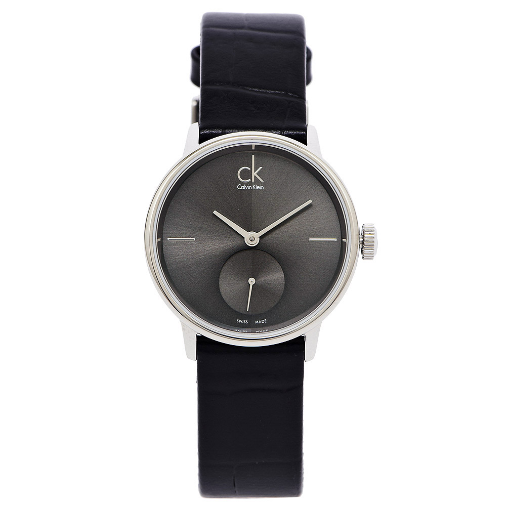CK Calvin Klein Accent 奢華沉靜黑小秒針盤皮帶女錶 - 灰黑/32m
