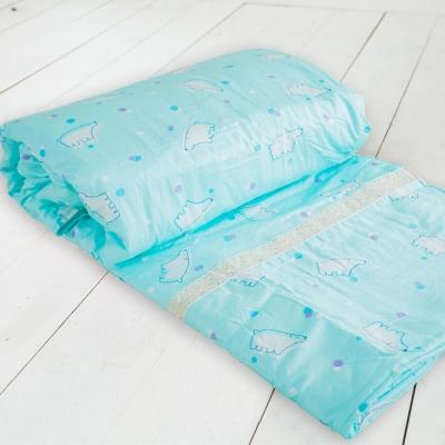 米夢家居-台灣製造-100%精梳純棉雙面涼被<b>5</b>*7尺-北極熊藍綠