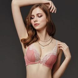 La Felino-紐約玫瑰3/4深V泡棉款B-D罩杯內衣(泡糖粉)