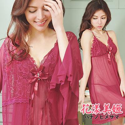 罩衫三件式睡衣裙組 胸墊款 奢華網紗 絕美印花深V水鑽 (棗紅) 花漾美姬