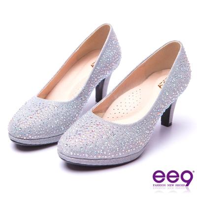 【ee9】芯滿益足-璀璨奢華名媛專屬夢幻晶鑽跟鞋*銀色