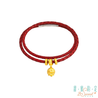 甜蜜約定 Doraemon 開心每一天黃金/皮繩手鍊